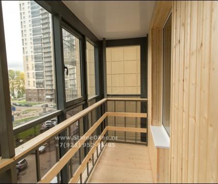 Отделка балкона деревянной вагонкой, Рыбацкий проспект 18к2
