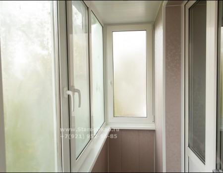 Установка тёплого остекления балкона пр. Науки